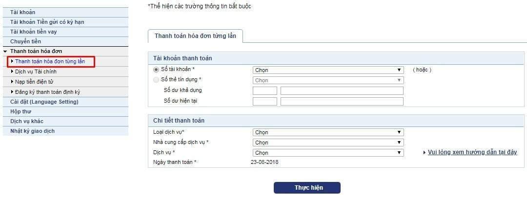 Thanh toán tiền điện qua Internet Banking BIDV