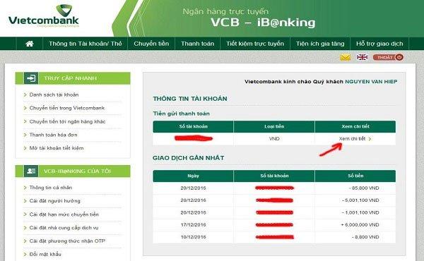 Nhấn Xem chi tiết để kiểm tra số dư tài khoản Vietcombank