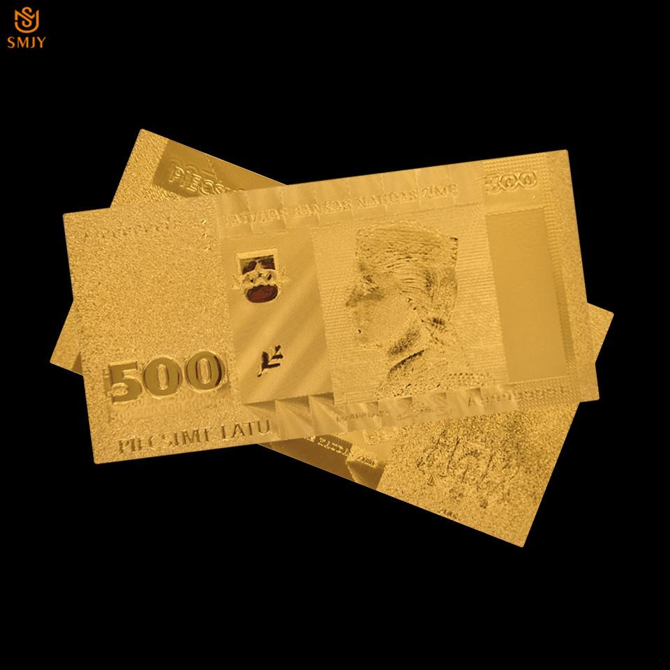 10 cái/lốc Euro Giấy Tệ Tiền Giấy Bộ Sưu Tập Latvia 500 Lats Vàng ...
