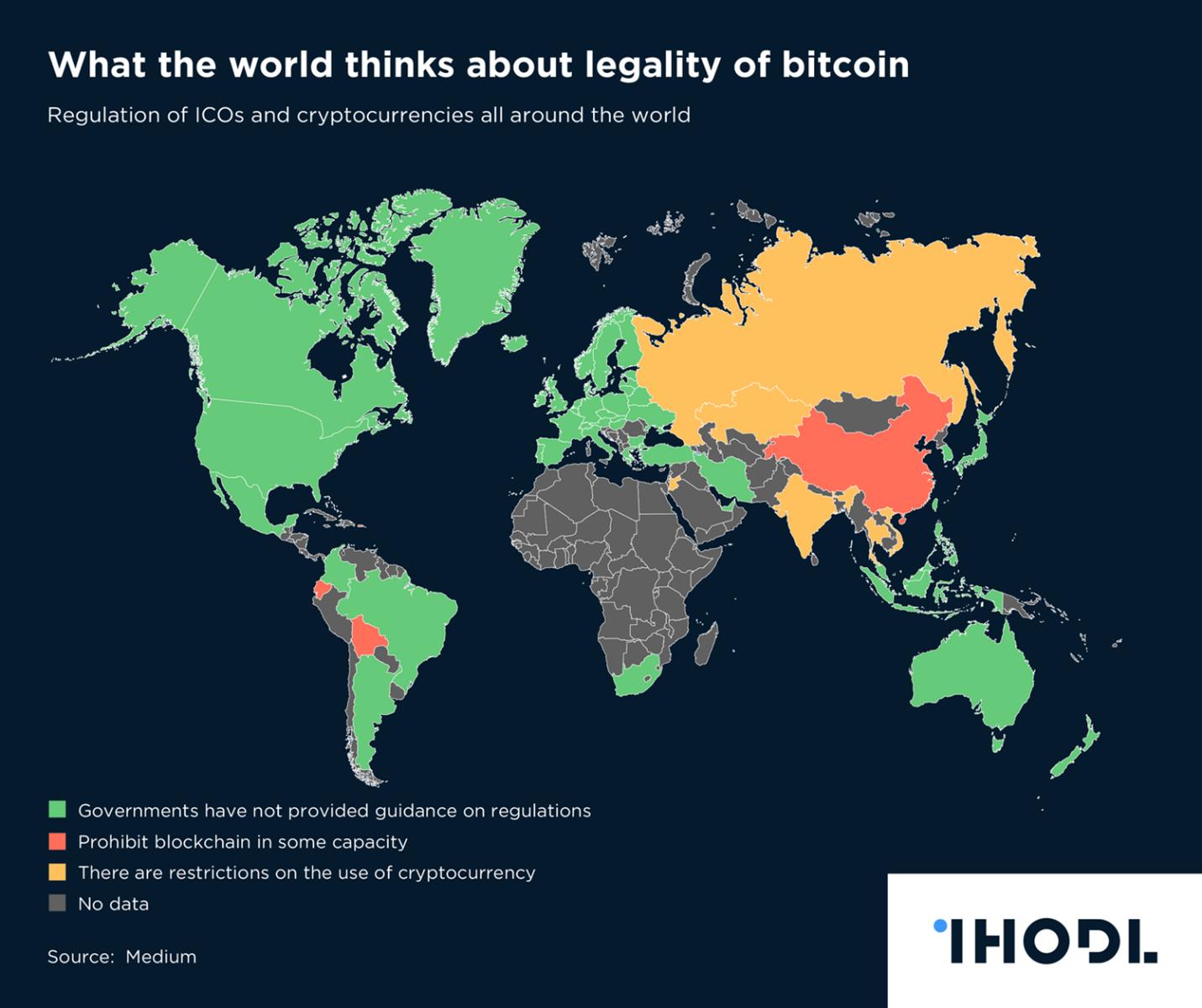 Bản đồ pháp lý Bitcoin trên thế giới (Nguồn: ihodl)